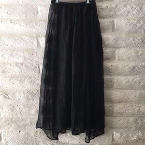 Black sheer slip with elastic waist